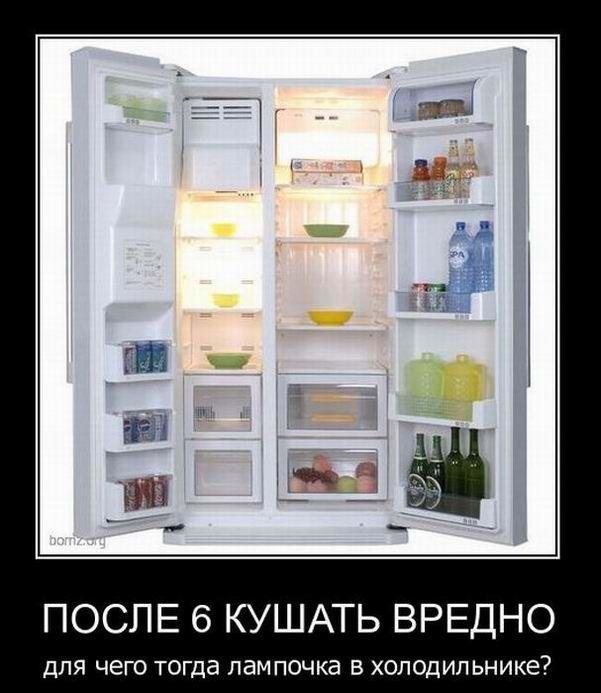 После 6 кушать вредно. Для чего тогда лампочка в холодильнике