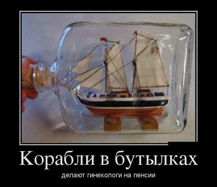 Корабли в бутылках делают гинекологи на пенсии