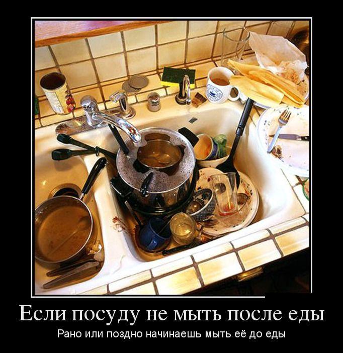 Если посуду не мыть после еды. Рано или поздно начинаешь мыть её до еды